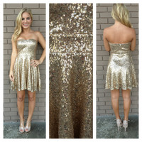 Gold Strapless Sequin Skater Dress