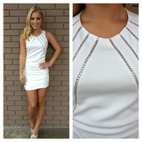 White Silver Bells Sleeveless Crystal Holiday Dess