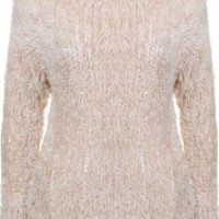 Cream Sequin Shaggy Knit Sweater