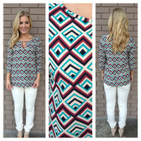 Mint & Burgundy Leslie Diamond Blouse