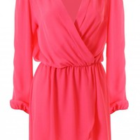 Pink Wrap Long Sleeve Dress