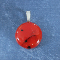 Red Pendant, Small Round Pendant, Fused Glass, Simple Jewelry - Jolene - 4494 -3