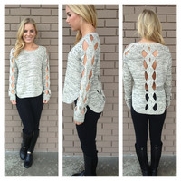 Oatmeal Braided Knit Sweater