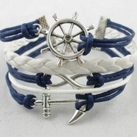 Vintage Silver Infinite Bracelet Nautical Rudder Anchor Blue Leather Rope Bangle:Amazon:Everything Else