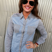 Aztec Chambray Top