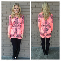 Neon Pink Aztec 3/4 Sleeve Knit Top