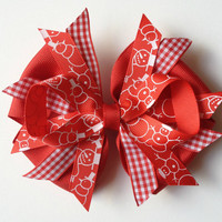 Christmas Gingham Snowmen Print Hair Bow - 2 Color Options