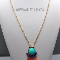 Turquoise I Came In Like A Wrecking Ball Long Statement Necklace