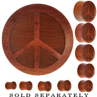 Organic Sawo Wood Peace Sign Saddle Plug | Body Candy Body Jewelry