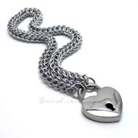 Silver Chainmaille Choker Day Collar with Heart Lock and Keys