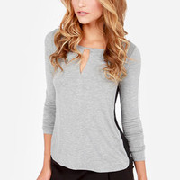 Casual at Once Black and Grey Long Sleeve Top