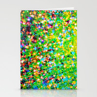 HOLIDAY CHEER - Bold Christmas Festive Green Red Yellow Sparkle Stars Glitter Bling Abstract Art Stationery Cards by EbiEmporium
