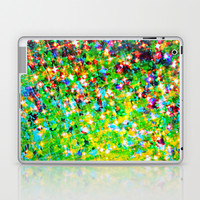 HOLIDAY CHEER - Bold Christmas Festive Green Red Yellow Sparkle Stars Glitter Bling Abstract Art Laptop & iPad Skin by EbiEmporium
