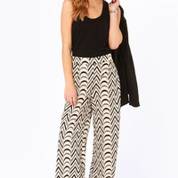 Give It a Go Black and Cream Wide-Leg Pants