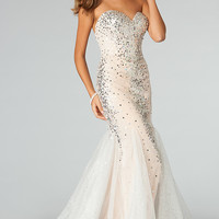 Floor Length Strapless Sweetheart Sequin Dress