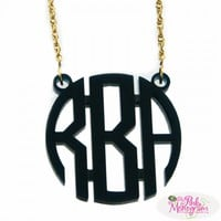 Acrylic Circle Font Monogram Pendant at The Pink Monogram