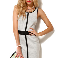 Soft Pleather Insert Sheath Dress