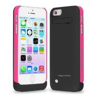 TechPro iPhone 5/5S Detachable Backup Battery Case With Intergrated Lightning Capability - Black/Pink
