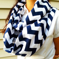 Navy blue chevron infinity scarf - Back order