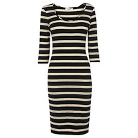Buy Oasis Sparkle Stripe Dress, Multi Natural online at John Lewis