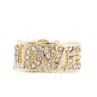 RHINESTONE LOVE STRETCH RING