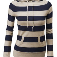 Doublju Long Sleeve Kangaroo pocket Hoodie Stripe Sweater