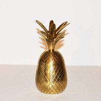 ON SALE Vintage Brass Pineapple Box Hollywood Regency Brass Pineapple Candle Holder Mid Century Modern Barware