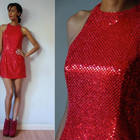 Vtg Red Sequined Sleeveless Mini Disco Dress