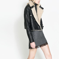 LEATHER AND FAUX SHEEPSKIN JACKET