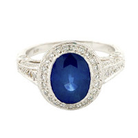 Asscher Cut Natural Sapphire Diamond Platinum Ring