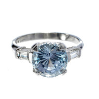 White Blue Sapphire Diamond Platinum Ring