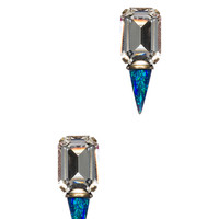 Gali Antique Plated Earrings in Clear & Blue