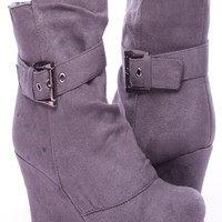 GREY FAUX SUEDE BUCKLE ACCENT WEDGE BOOTIES