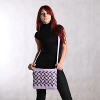 Leather crossbody purse purple. Leather clutch. Leather shoulder bag. Purple / gray small purse.