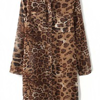 Leopard Chiffon Shirt Dress