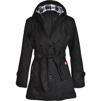Fashion Wardrobe Ladies Belted Button Hood Jacket Coat Womens 8 10 12 14