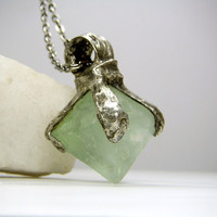 Jewelry by AMW - Natural Raw Stone Octagonal Fluorite Necklace