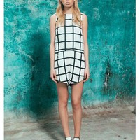 FINDERS KEEPERS Game Plan Playsuit CHECK PRINT/PETROL