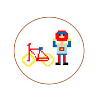 Hand embroidery pattern of mountain biker. Make this pixel people gift for him, your sports man. English, Spanish and Dutch pattern