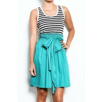 Jade Flared Bow Dress Womens