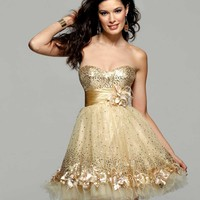Calrisse 2012 Homecoming 2013 Prom Gold Short Sequin Dress 2029 | Promgirl.net