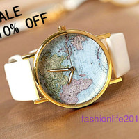 World Map Watch Unisex Watches Fashion Watch Mens wristwatches Women Watches Gril Watch Boyfriend Gift The best Christmas Gift Watch-W006