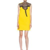 Flower & Crepe Mini Dress in Yellow & Black