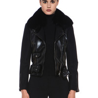 Broadway Wool Bomber with Fur in Black