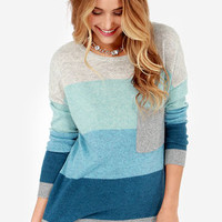 Hot Cocoa Grey and Blue Striped Sweater