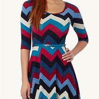 Tribal Chevron Skater Dress