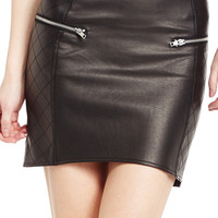 Necessary Evil Faux Leather Moto Skirt