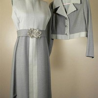 Vintage 1970s Mod Gray Wool Shift Dress Suit Med Cropped Jacket 2 Tone