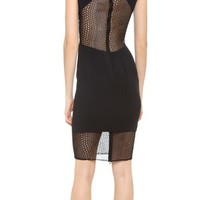Monique Lhuillier - Seamed Dress with Lace Insets