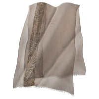 Solid Scarf with Gold Sequin Strip - Tan